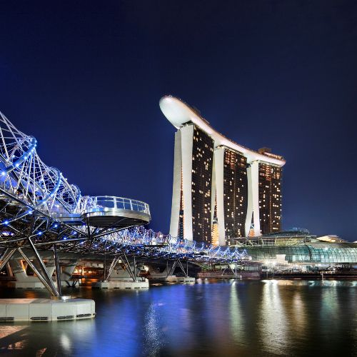 The Marina Bay Sands in Singapore at night.