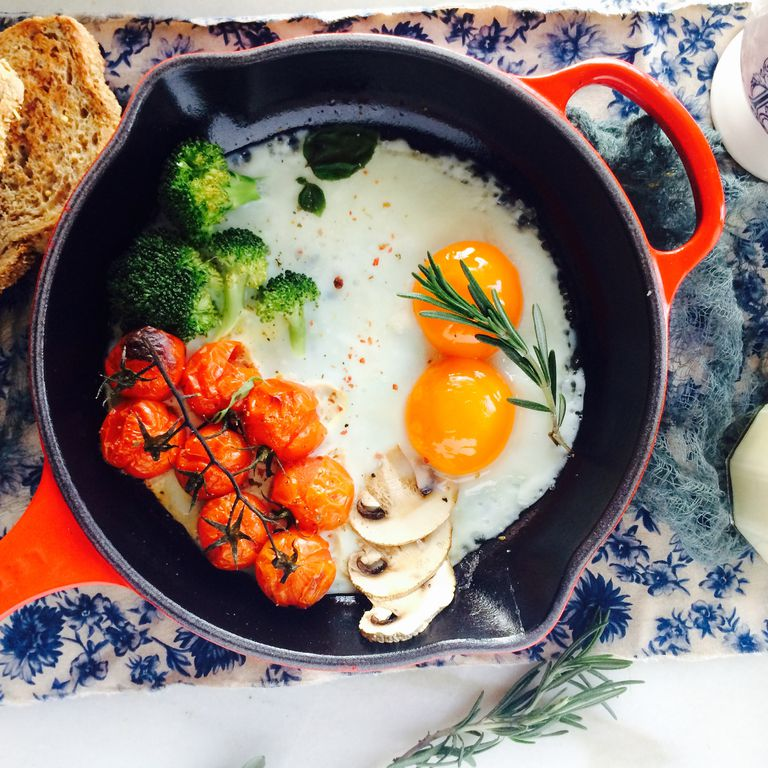 Eggs in a cast iron pan