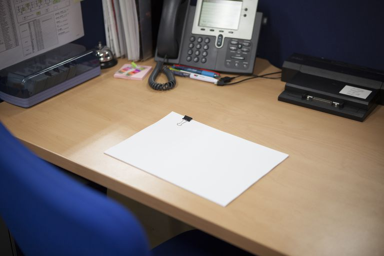 Office desk,blank paper