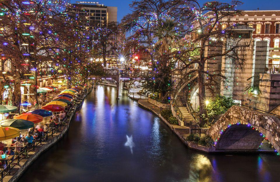 San Antonio Riverwalk during the Christmas season at dusk