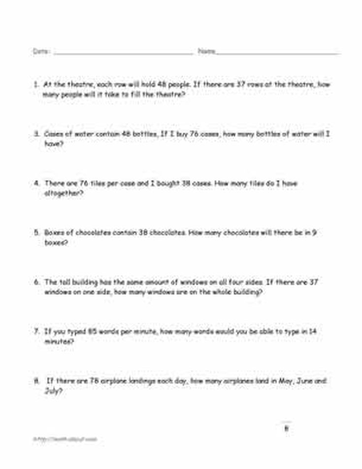 Printable Worksheets science worksheets for class 5 : Printable 5th Grade Math Word Problem Worksheets