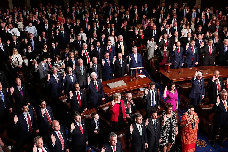 The 435 members of the U.S. House of Representatives take the oath of office.
