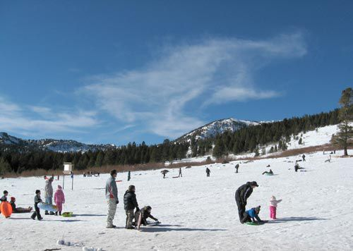 Sledding hill at Tahoe Meadows snow play area