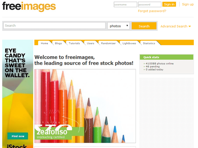 Screenshot of the freeimages website