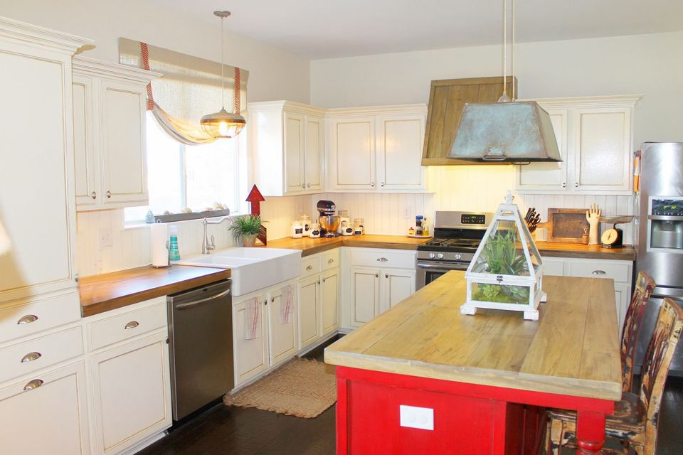 White Kitchen Red Island Farmhouse Style