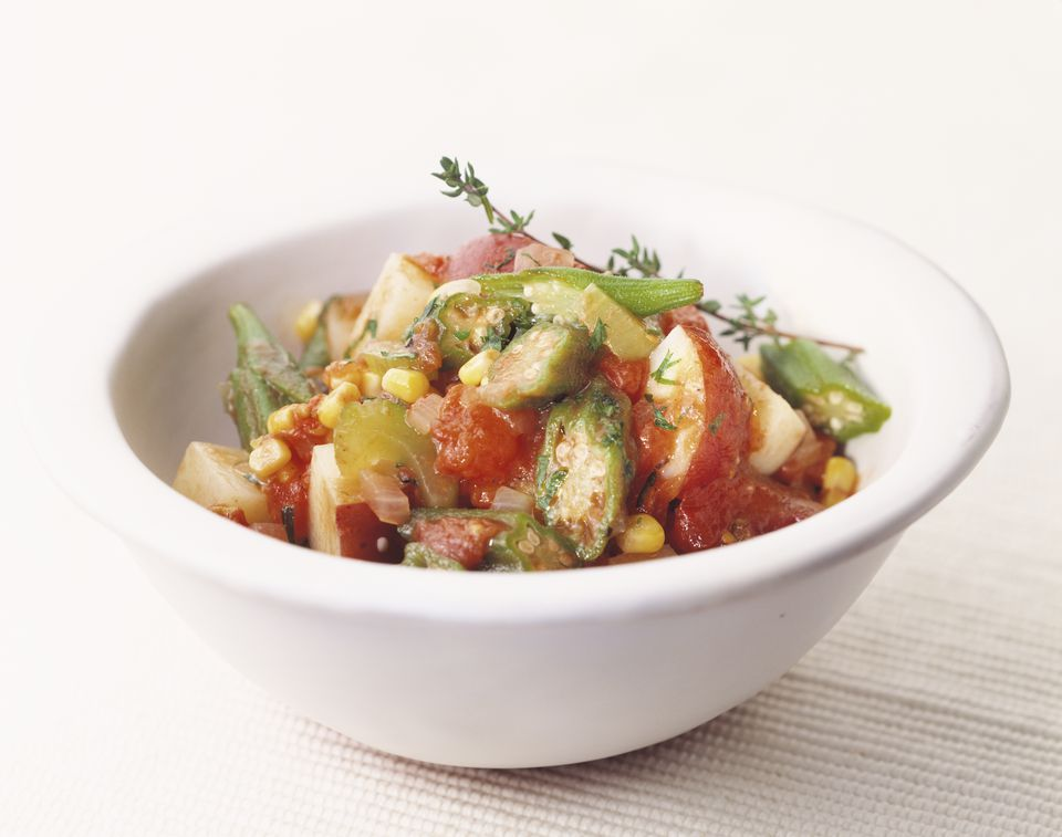 Bowl of Vegetable Gumbo with Thyme Garnish