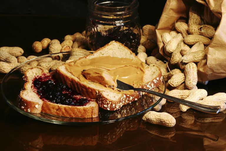 Whole grain bread for a healthier peanut butter and jelly sandwich.