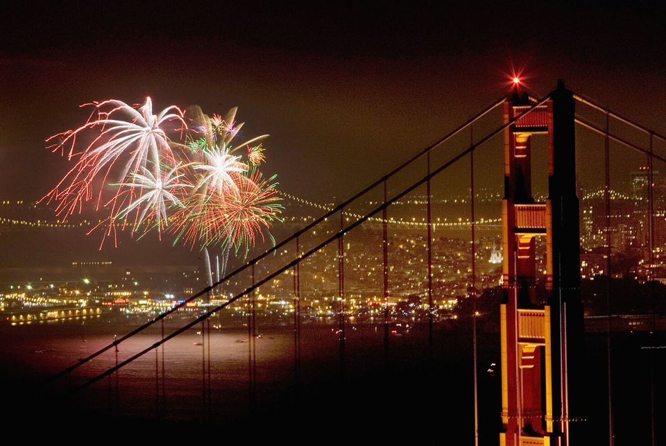 July 4th fireworks light up San Francisco Bay and the Golden Gate Bridge