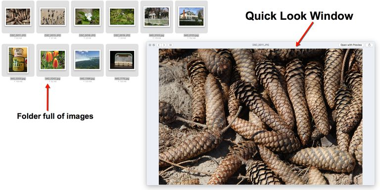 The Quick Look window is over the images in the folder.
