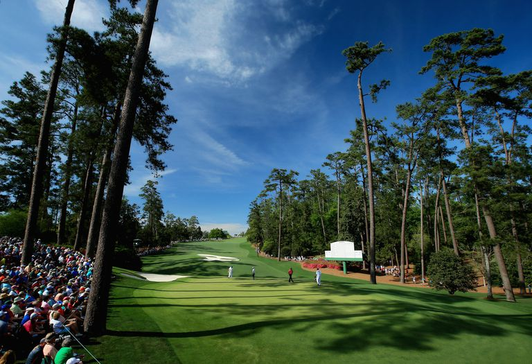 View from behind the green back down the 10th hole at Augusta National