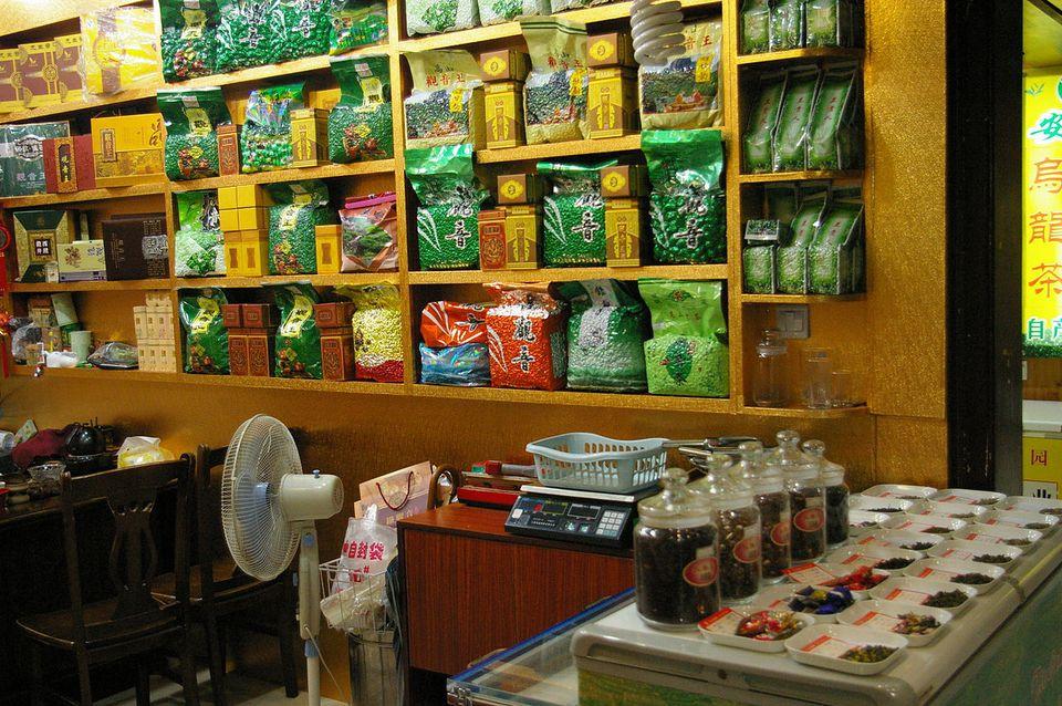 One of the tea shops in Tianshan Tea City in Shanghai