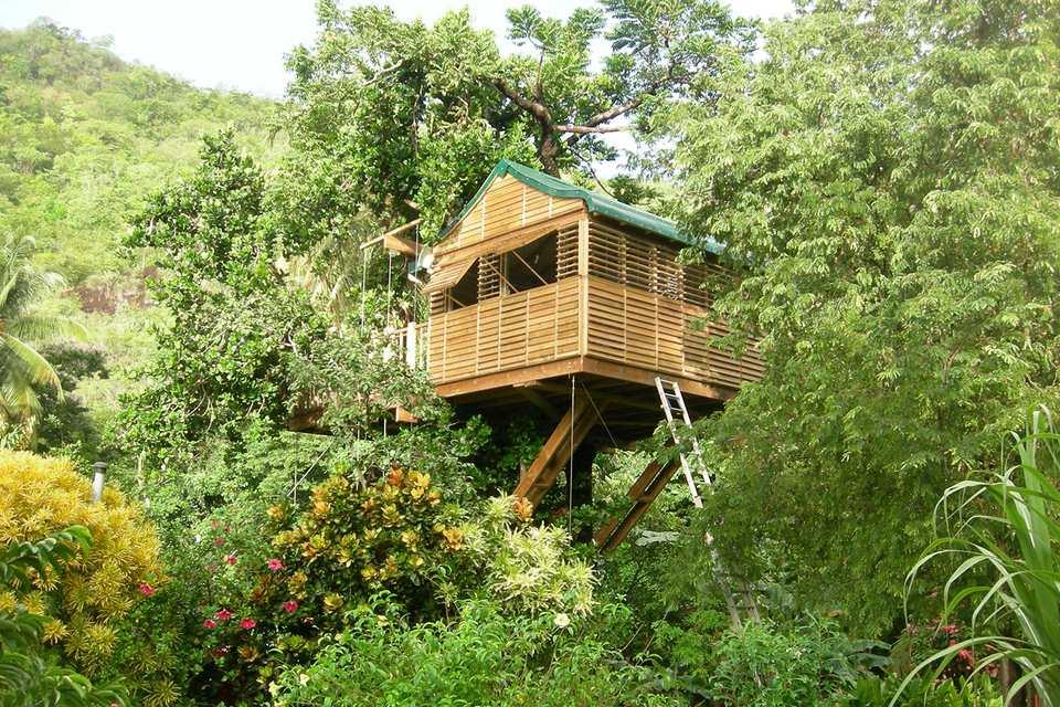 Domaine de Robinson treehouse bungalow, Martinique.