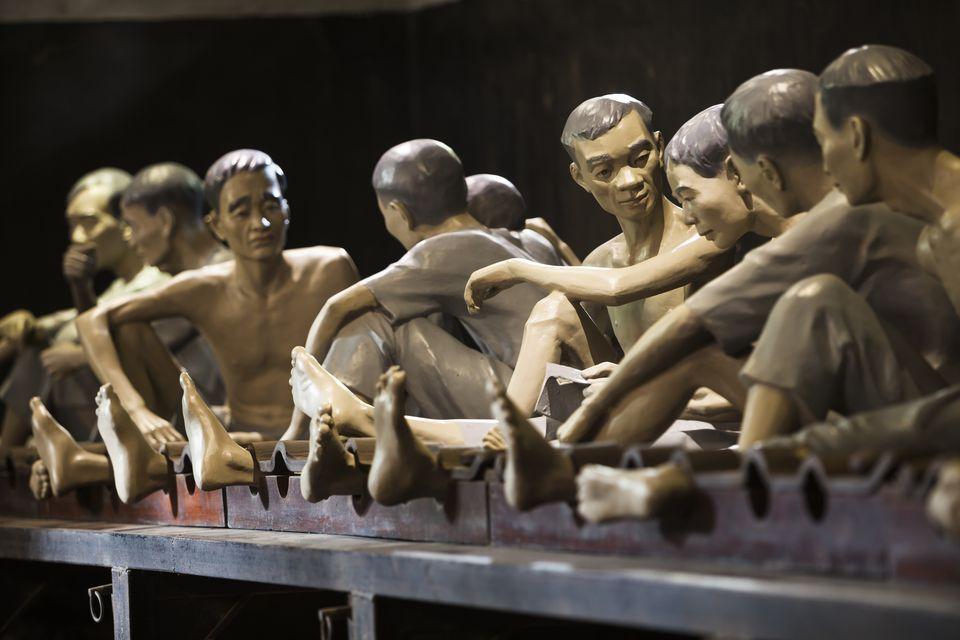 """Prisoner diorama at Hoa Lo Prison (""""Hanoi Hilton"""") in Vietnam"""