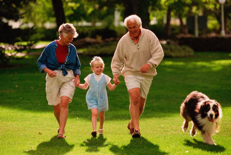 grandparents with dog