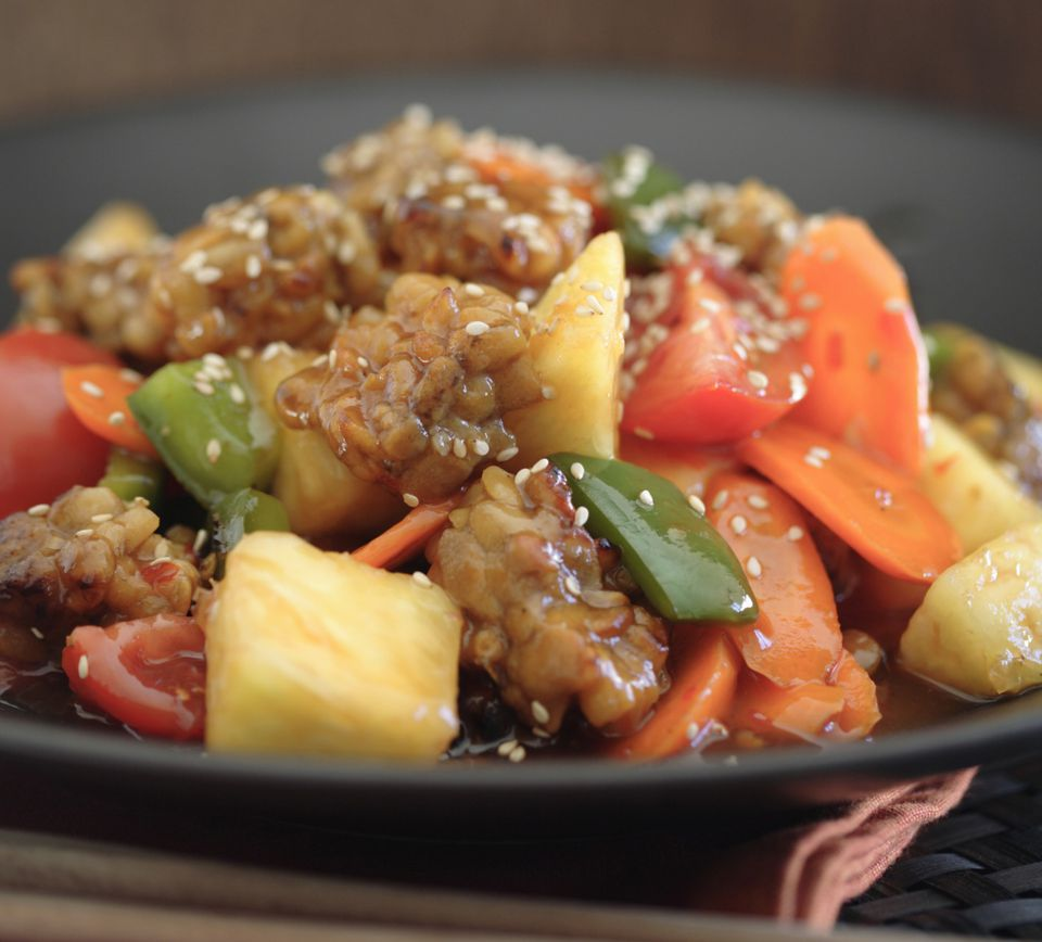 Vegetarian tempeh teriyaki stir-fry