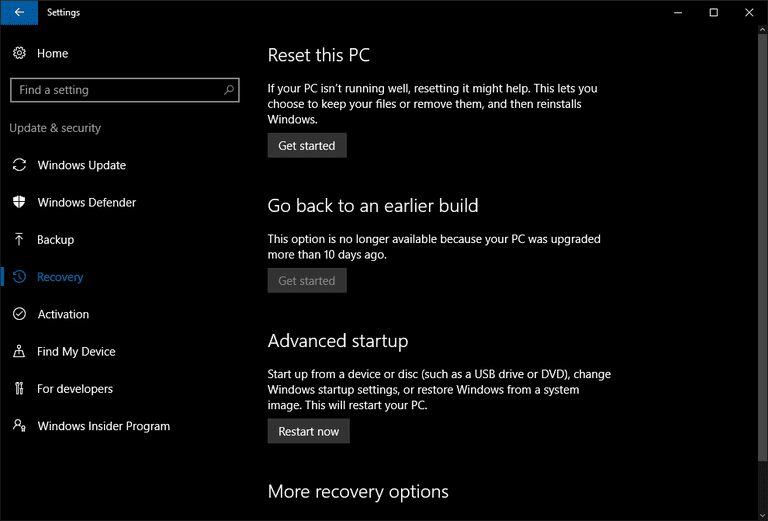 Recovery options Windows 10 AU