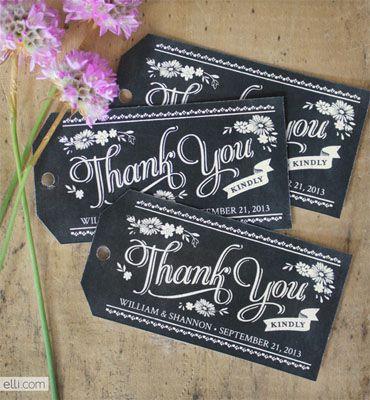 Chalkboard style printable wedding tags.