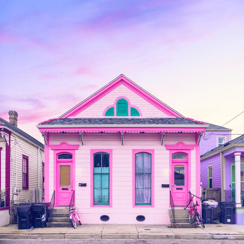 vibrant pink house exterior