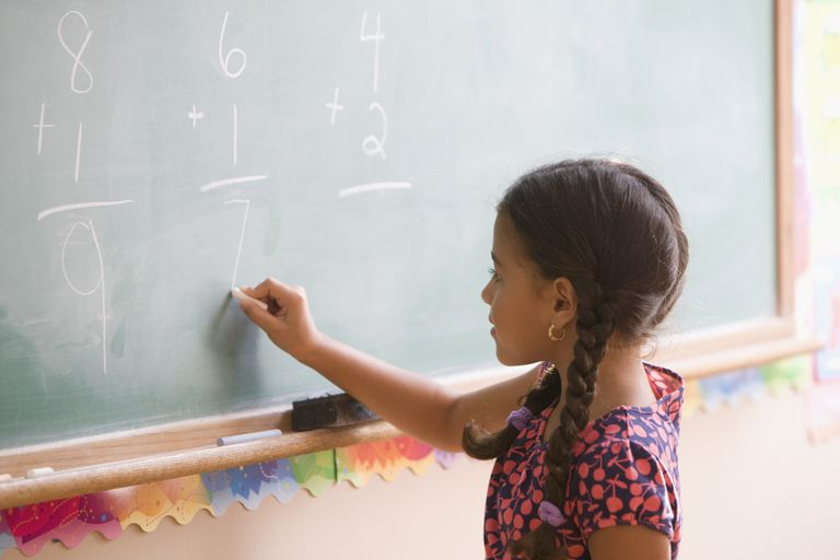 Hispanic girl doing math on blackboard