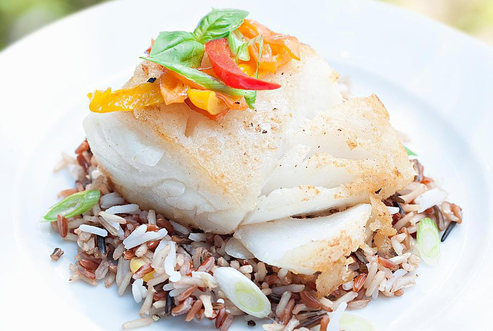 Baked cod with rice