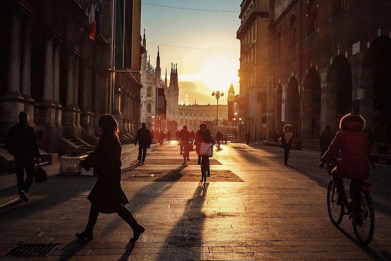 Busy street Milan, Italy