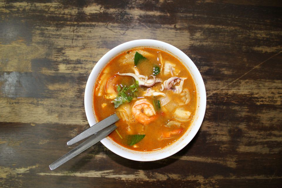 Directly Above Shot Of Tom Yum In Bowl On Table