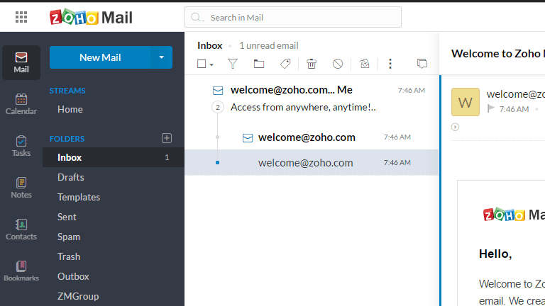 Screenshot of the Zoho Mail inbox