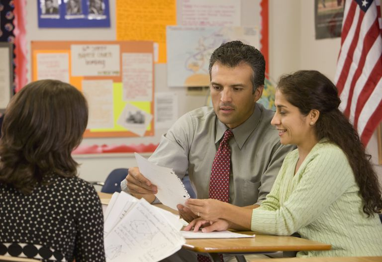 Parents talking with a teacher in a classroom