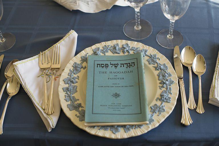 Haggadah at Passover table