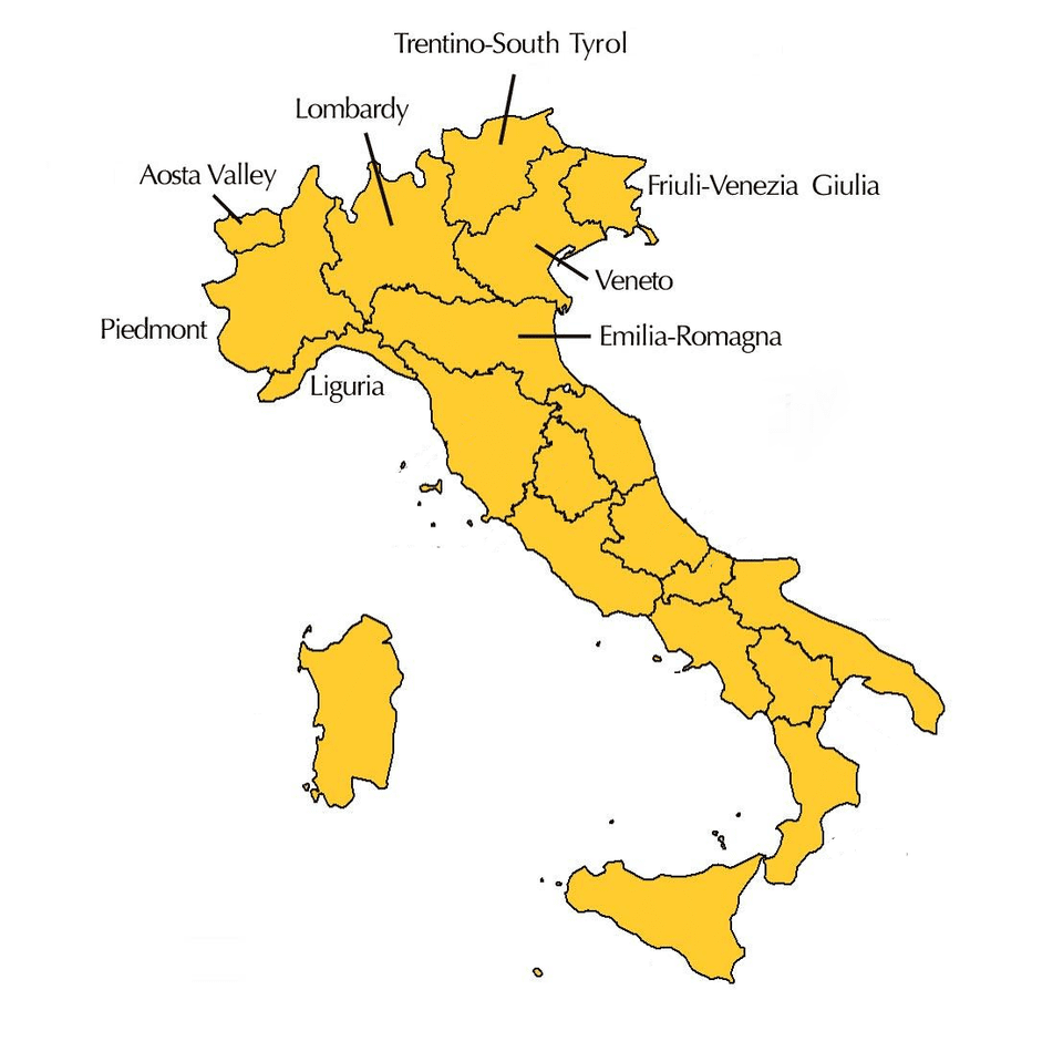 The 8 Regions of Northern Italy