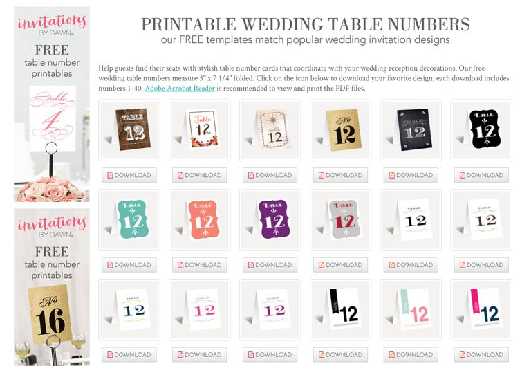 printable wedding table numbers from invitations by dawn - Printable Wedding Invitation
