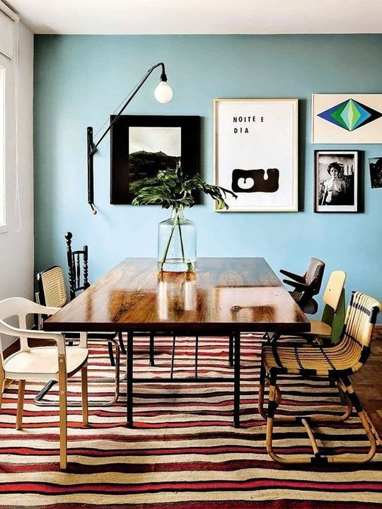 Striped Rug And Light Blue Walls Dining Room