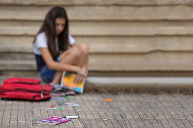 Defocused portrairt of teenage girl