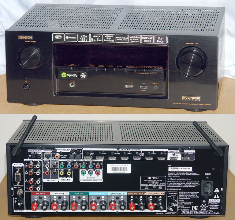 Denon AVR-X2100W Home Theater Receiver - Photo - Front and Rear View