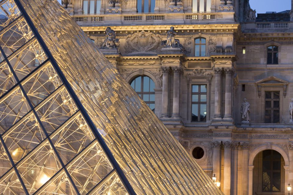 The Pyramid entry, Louvre Museum, Paris, France.