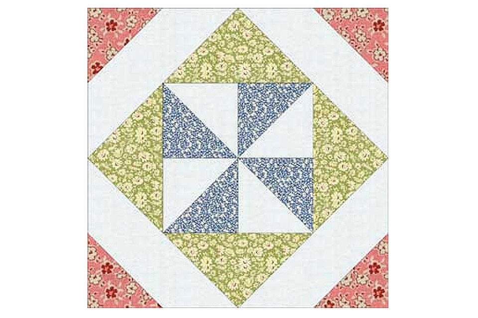 Pinwheel Quilt Block Template : Pinwheel in a Square Quilt Block Pattern