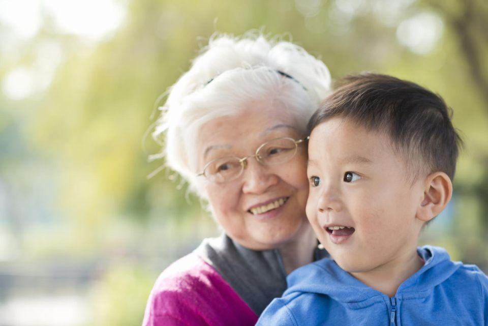 Grandmother and kid