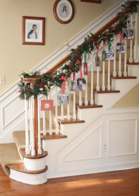 How to decorate a staircase railing for christmas - Christmas decorations for stair rail ...