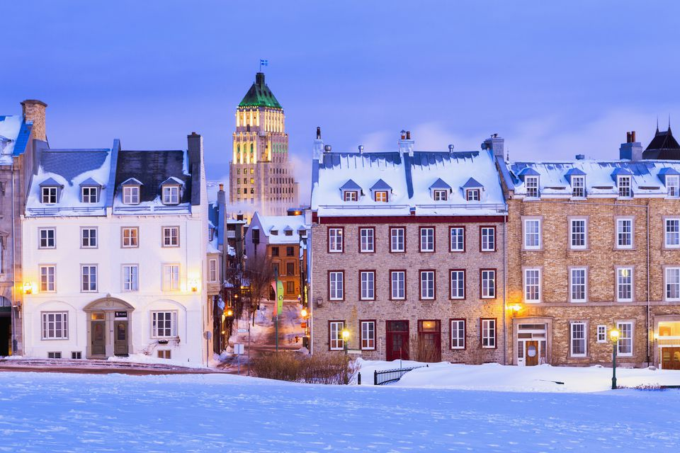 Saint-Denis Street And Price Building At Dawn In Winter