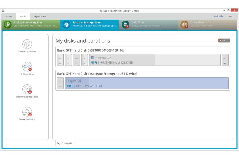 Screenshot of the Paragon Hard Disk Manager Basic v16 program in Windows 8