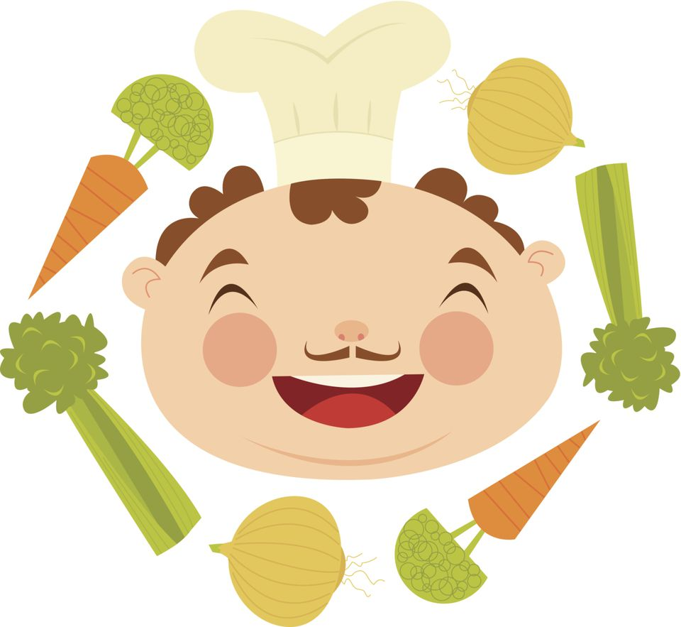 Laughing chef head surrounded by soffritto ingredients