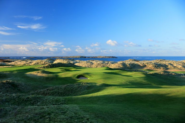 Hole No. 15 on the Dunluce links at Royal Portrush Golf Club