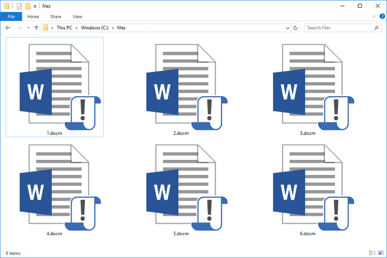 Screenshot of several DOCM files in Windows 10 that open with Microsoft Word