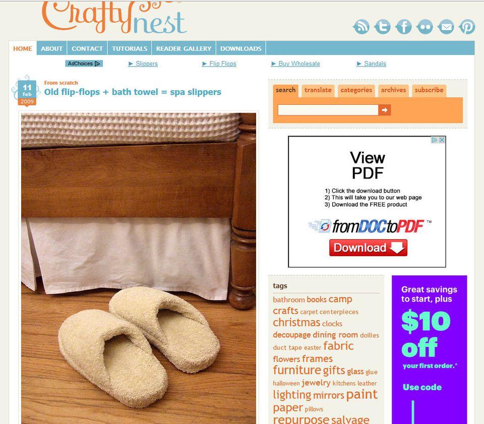 Old flip-flops + bath towel = spa slippers