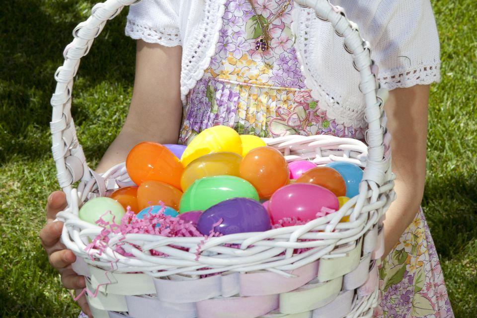 Girl holding Easter egg basket