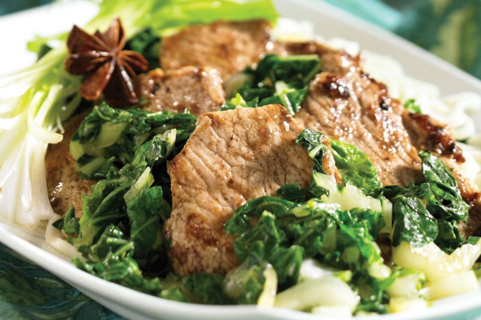 Five-spice Pork with Bok Choy and Green Onions