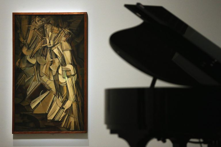 """photo of painting """"Nude Descending A Staircase"""" by Marcel Duchamp"""