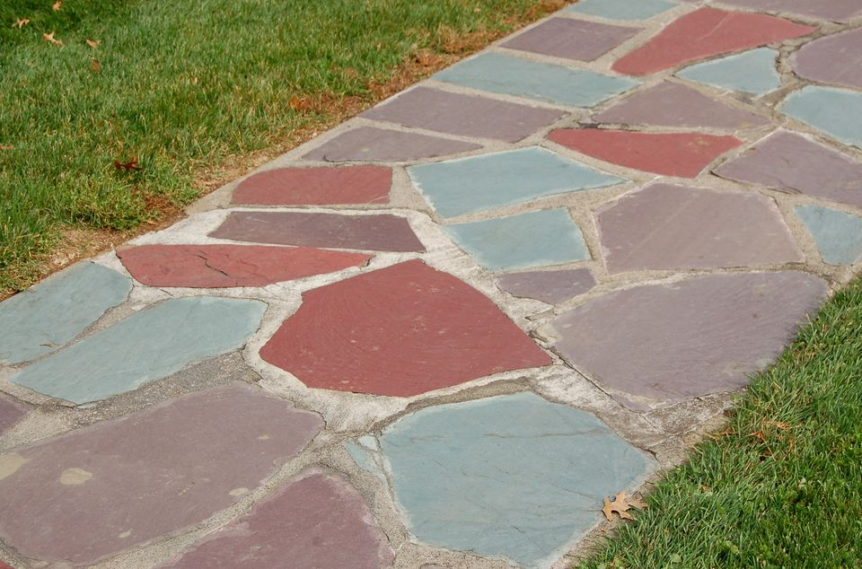 A common material used to build stone walkways is flagstone (image).