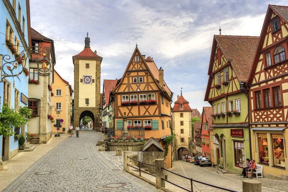 Germany , Rothenburg City (Romantic Road) , The Plonlein , Siebers Tower (left) and Kobolzell Gate (right)