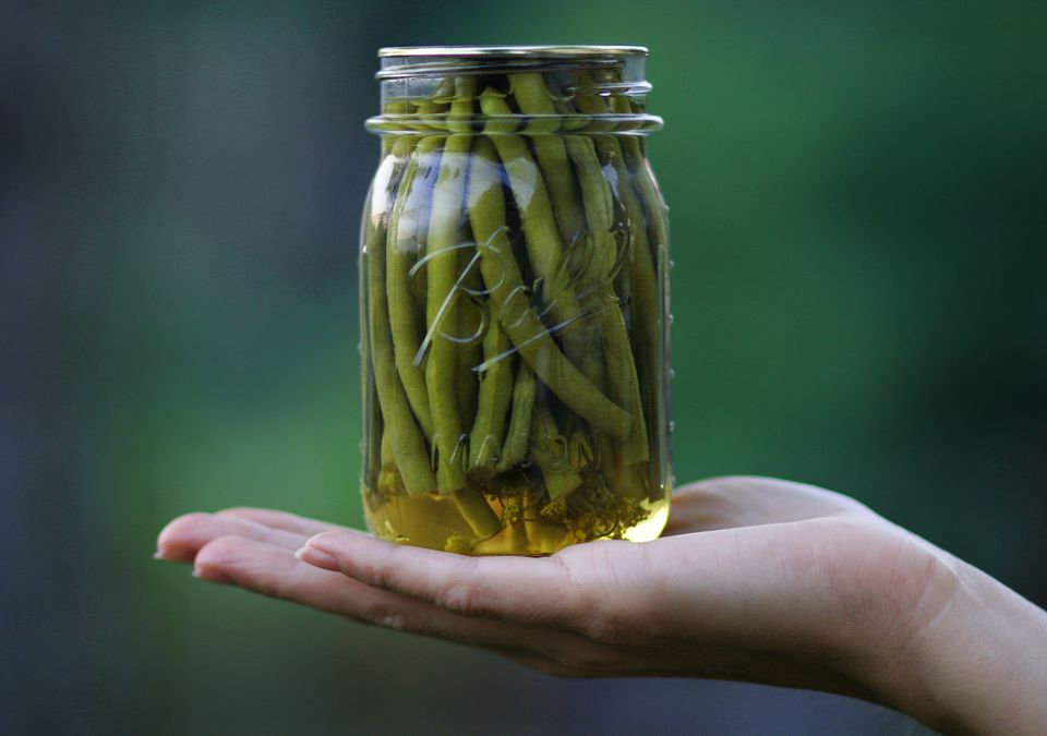 pickled green beans in jar